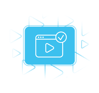 Video ad verification icon representing GeoEdge's capability to prevent malware in video ads, video ad latency and more.